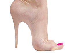 Shockwave therapy helps foot pain from high heels.